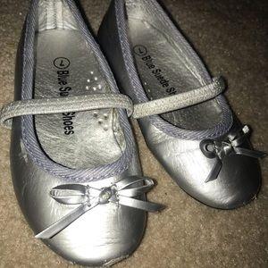 Blue Suede Shoes Shoes - Blue Suede Dress Shoes Silver Size 7 Toddler Flats